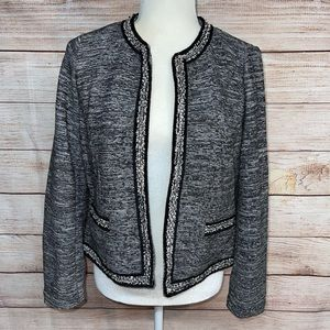 Talbots Black and White Patterned Sweater Blazer